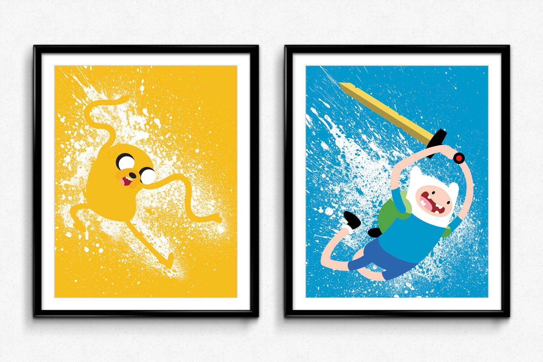 Adventure Time Finn and Jake Splatter Paint Poster Set