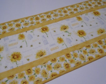 Sunflower Quilted Table Runner, Quilted Table Runner With Gold Sunflowers  And Bees, Sunflower Dining