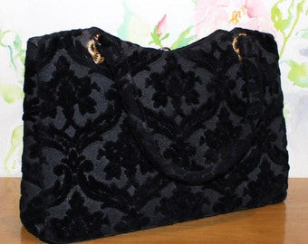 Sweet Vintage, Lewis, Black Velvet Burnout, Handbag, Vintage Purse