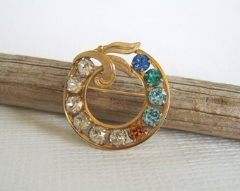 Rhinestone Brooch, Circle Pin, Van Dell Brooch, 12 Karat Gold, Mother's Pin, Vintage Brooch, Mid Century, Bright Rhinstones, Circle Brooch