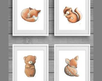 Woodland Nursery, Digital Download, Woodland Animal Print, Nursery Wall Art, Fox Print, Deer Poster, Animals Nursery Decor, Forest Animals