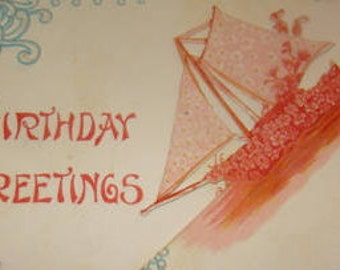 Vintage Fold Out Floral Postcard (Forget-me-nots and Boat)