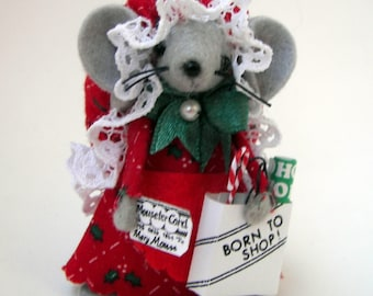 Christmas Ornament Shopping Mouse cute felt mice gift for animal lovers and collectors by Warmth