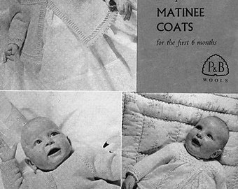 PDF 3 ply, More Beehive Baby Wool Baby Coats for the first 6 months, 3 Patterns , Patons Knitting Pattern #576