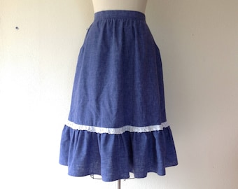 1970s Chambray and lace ruffled prairie skirt