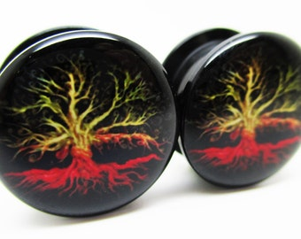Tree & Roots Ear Plugs - Acrylic Screw-On - New - 8 Sizes - Pair