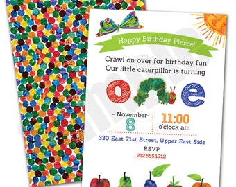 The Hungry Caterpillar First Birthday Party Custom Printable Invitation