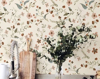 Delicate little flower Wallpaper, Removable Wallpaper, Self-adhesive Wallpaper, Floral Wall Décor, Tropical Wallcovering - JW_114