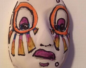 Handmade clay face  mask oval jewelry craft supplies  handmade clown cabochon  face light weight polymer