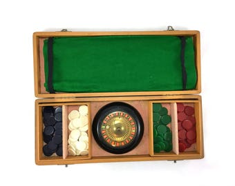Vintage roulette set in carry case