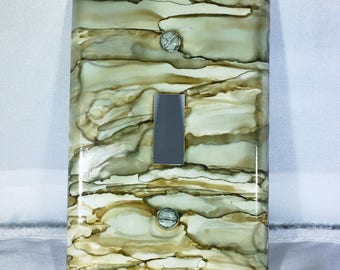 Single Switchplate, Painted Switchplate, Alcohol Ink Switchplate, Wall Decor, Home Decor