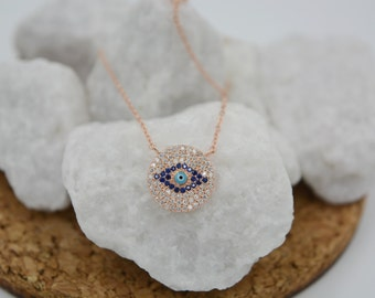 Evil eye disc necklace. Sterling silver rose gold plated turkish eye necklace. Protection necklace. 18K rose gold plated evil eye necklace