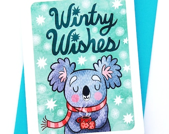 Wintry Wishes Koala- Cute Christmas Card Koala Holiday Card Boyfriend Season's Greetings Cute Winter Card Illustrated Holiday card friend