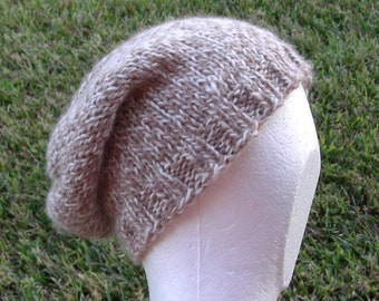 Slouch Hat, Beanie, Beret, Stocking Cap, Tam Beige Taupe Cream Marl Natural not dyed multicolored Baby Alpaca Merino Blend