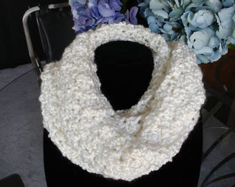 White Cowl Scarf, Infinity Scarf, Crocheted Scarf, Winter Scarf