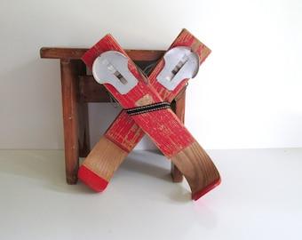 Vintage Children's Red Wood Skis Cabin Decor Rustic
