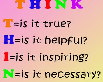 THINK poster Pink & yellow--think before you speak--classroom poster--digital file
