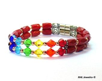 Magnetic Bracelets, Red Magnetic Bracelet, Chakra Bracelet, Magnetic Crystal Bracelet