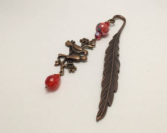 Bookmark in copper red with birds ref 426
