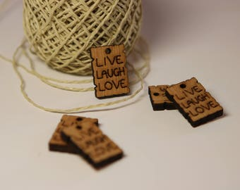 """Wooden Tag """"Live Laugh Love"""", Wooden Creations, LaserCut, Natural Brown, Earring, Keychain"""