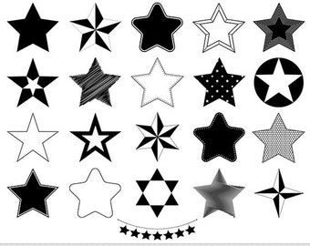 Stars Clipart Vector Stars Clip Art Star Silhouette Clipart Digital Stars Scrapbooking Star Bunting Sheriff Star Icons Invitations Logo