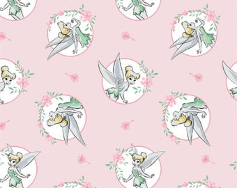 Disney Licensed Tinkerbell Pink Peter Pan Fairy in Circles  100% Cotton Fat Quarter Fabric