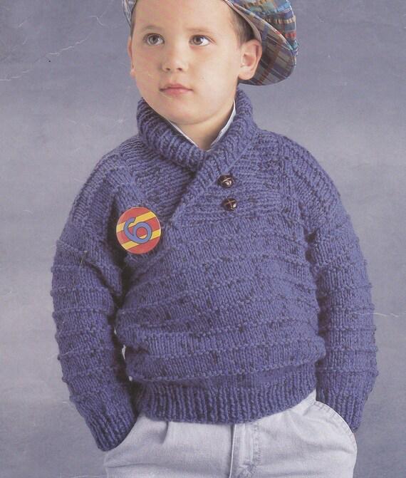 Vintage Knitting Pattern Boys Chunky Sweater Shawl Collar Bulky Pdf