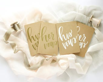 Hand Embossed Wedding Vow Books | Small Hand Lettered + Embossed Moleskine Vow Books