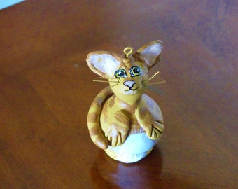 DONATION Cat Gourd Ornament: Chad the Orange Tabby Cat