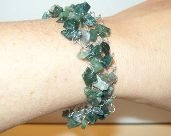 Green Agate and Silver Wire Handknited Bracelet by hipknitta