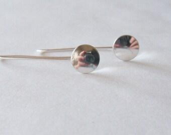 long sterling silver dome earrings