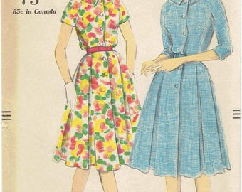 Vintage Vogue 1960s Pleated Shirtdress Pattern 9687.  Button Front Dress with Inverted Pleats, Collar, Kimono Sleeves. Size 18 Bust 38 in.