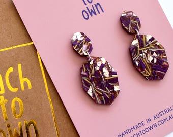 Gemstar Double Drops - Drift Lush Glitter - Geometric Drop Earrings Laser Cut