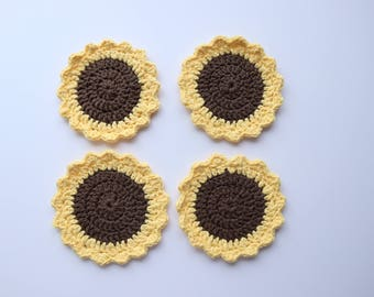 Gifts for sunflower lovers, Sunflower coasters, mother's day gifts, Cotton coasters, gifts for her, tea lover mother's day gift