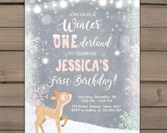 Winter ONEderland invitation Birthday party invite First birthday party Winter ONEderland Snowflakes Deer Woodland Pink Mint PRINTABLE
