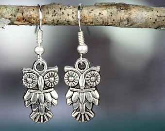 Owl Earrings Owl Gift Owl Jewelry Owl Collector 1.5 inch by (35mm) Nickel Free Order As Many Pairs As Needed Gift Bags Included