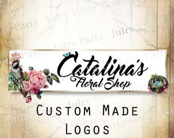 LOGO in Birds Nest•Premade Logo•Jewelry Card Logo•Flower Logo•Custom Logo•Shop Logo