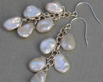 Keshi Pearl Bridal Earrings, Pearl Wedding Jewelry, Long Dangle Pearl Earrings