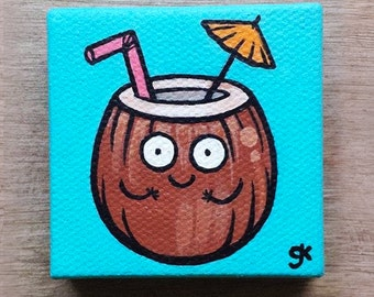 Coconut Drink Painting Happy Food Collectibles Gifts Miniature Cute Cartoon