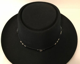Eddy Bros Lady Jane Adjustable Black Western Hat, Vintage, Leather Band With Colorful Gems,
