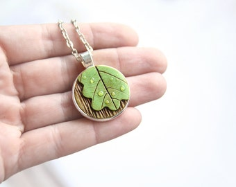 Gift|for|her Leaf necklace Forest jewelry Green necklace woodland jewelry Rain lover gift Silver jewelry minimalist necklace Gift|for|mom