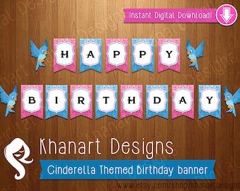 "Instant Download: ""Cinderella"" Themed Birthday Banner (Pink / Blue)"