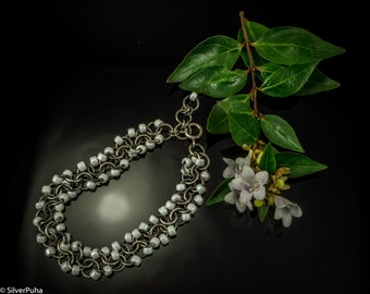 White Japanese seed bead chain maille silver bracelet