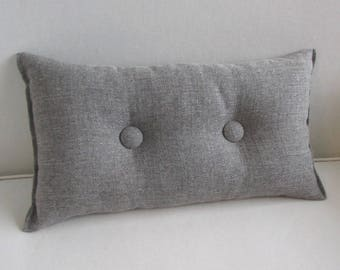 medina gray Toss Lumbar Accent Pillow 10x18 decorative throw with buttons