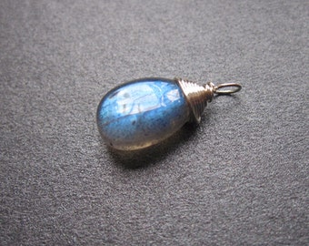 Smooth Flashy LABRADORITE DIY Wire wrapped Interchangeable bracelet charm and necklace pendant