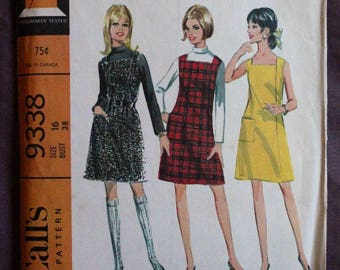 Misses 60s Dress or Jumper A-line Square Neckline and Bias Roll Collar Blouse Vintage 1960s McCall's 9338 Sewing Pattern Size 16 Bust 38