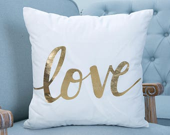 Gold and White Love Print 18x18 Cushion Cover