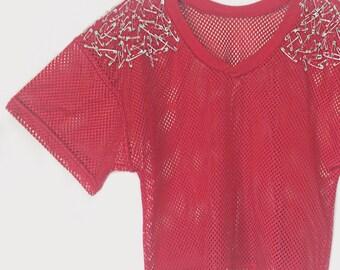 Alexander McQueen inspiriert Shirt Jersey Womens Jersey / / Womens rot Jersey \\ Grunge Shirt Damen Small / / Damen Small Shirt rot