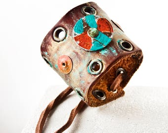 Leather Jewelry Turquoise Bracelet Tattoo Cover Up Cuff Bracelets For Women