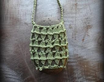 On Sale, Artist Necklace, Crocheted Lace, Stone, Gift, Original, Green, Handmade, Nature, Bohemian Style, Rock, Unique, Birthday, Monicaj